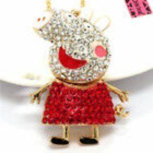 Betsey Johnson Peppa Pig Rhinestone Necklace